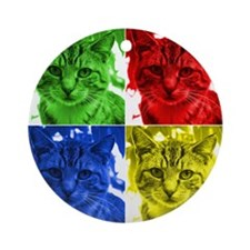 Rainbow Cat Popart Ornament (Round)