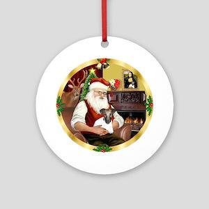 Wreath (G) - Santa's Fox T pup Ornament (Round)
