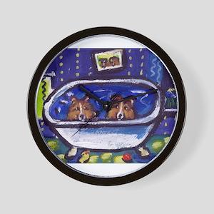 SHETLAND SHEEPDOG sheltie bat Wall Clock