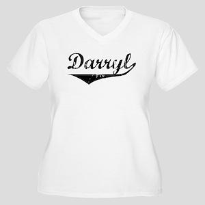 Darryl Vintage (Black) Women's Plus Size V-Neck T-