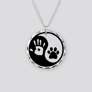 Yin Yang Hand Paw Necklace Circle Charm
