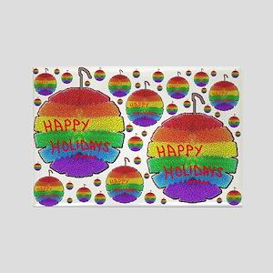 HAPPY HOLIDAYS RAINBOW ORNAMENTS Rectangle Magnet