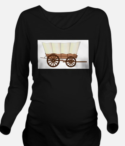 Covered Wagon Wheel Long Sleeve Maternity T-Shirt