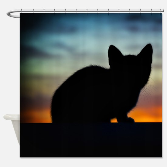 Little Cat Silhouette Shower Curtain