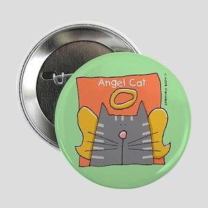 "Gray Tabby Cat Angel 2.25"" Button"