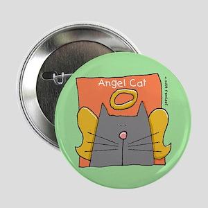 "Gray Cat Angel 2.25"" Button"