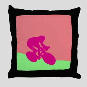 MAGENTA CYCLIST Throw Pillow