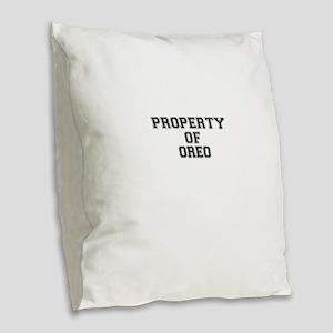 Property of OREO Burlap Throw Pillow