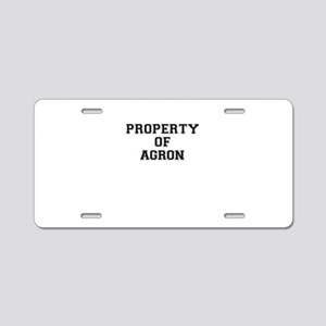Property of AGRON Aluminum License Plate