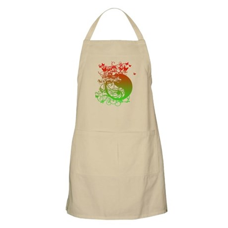 Buddha Design in Red and Gree BBQ Apron