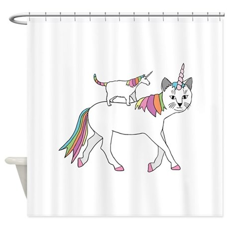 Cat-Unicorn Riding Unicorn-Cat Shower Curtain by ADMIN_CP136285437