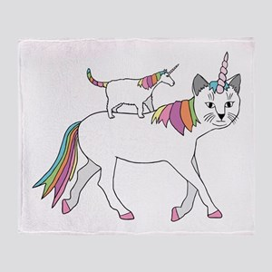 Cat-Unicorn Riding Unicorn-Cat Throw Blanket