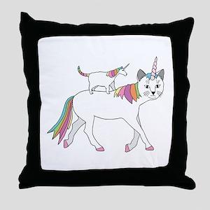 Cat-Unicorn Riding Unicorn-Cat Throw Pillow