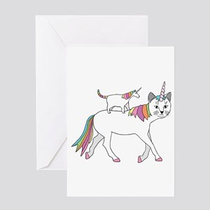 Cat-Unicorn Riding Unicorn-Cat Greeting Cards