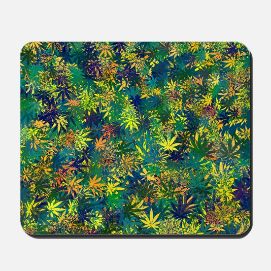 Cannabis Leaf Abstract Collage Mousepad