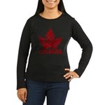 Cool Canada Souvenir Women's Long Sleeve Dark T-Sh