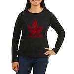 Cool Canada Souvenir Women's Long Sleeve Dark T-Sh