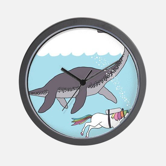 Loch Ness Monster Swimming With Unicorn Wall Clock