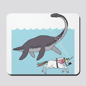 Loch Ness Monster Swimming With Unicorn Mousepad