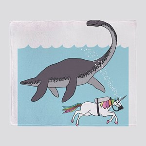 Loch Ness Monster Swimming With Unic Throw Blanket