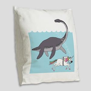 Loch Ness Monster Swimming Wit Burlap Throw Pillow