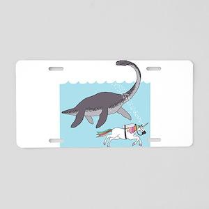 Loch Ness Monster Swimming Aluminum License Plate