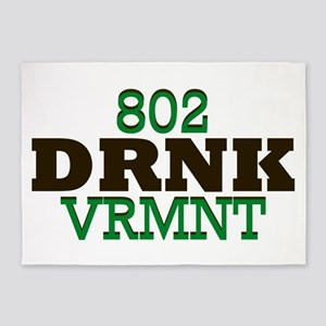 Drink Vermont Beer Local 802 5'x7'Area Rug