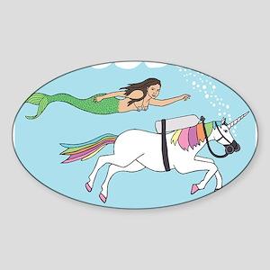Mermaid Swimming With Unicorn Sticker
