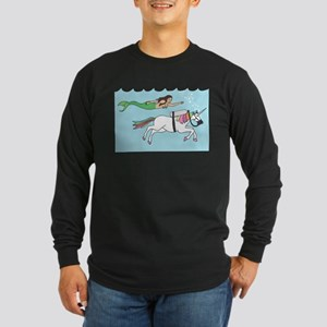 Mermaid Swimming With Unicorn Long Sleeve T-Shirt