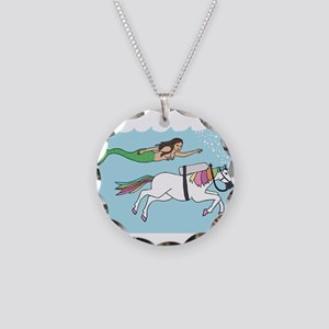 Mermaid Swimming With Unicor Necklace Circle Charm