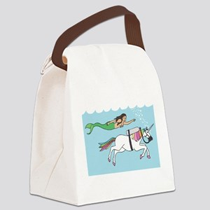 Mermaid Swimming With Unicorn Canvas Lunch Bag