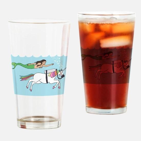 Mermaid Swimming With Unicorn Drinking Glass