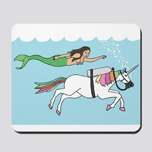 Mermaid Swimming With Unicorn Mousepad