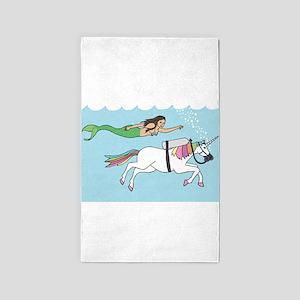 Mermaid Swimming With Unicorn Area Rug