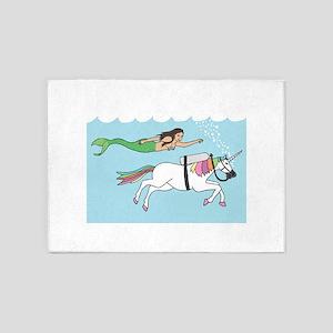 Mermaid Swimming With Unicorn 5'x7'Area Rug