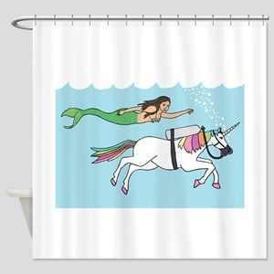 Mermaid Swimming With Unicorn Shower Curtain