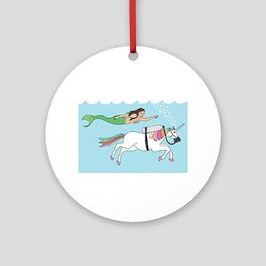 Mermaid Swimming With Unicorn Round Ornament