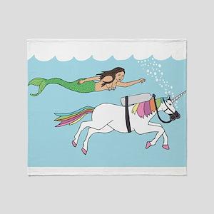 Mermaid Swimming With Unicorn Throw Blanket
