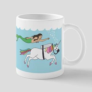Mermaid Swimming With Unicorn Mugs