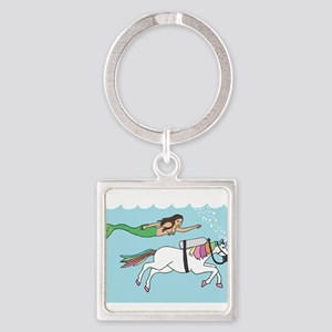 Mermaid Swimming With Unicorn Keychains