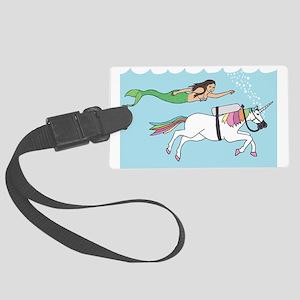 Mermaid Swimming With Unicorn Large Luggage Tag