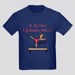 I Love Gymnastics (Gina) Kids Dark T-Shirt