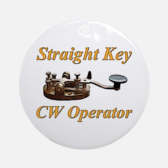 Straight Key CW Operator Ornament (Round)