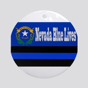 Nevada Blue Lives Round Ornament