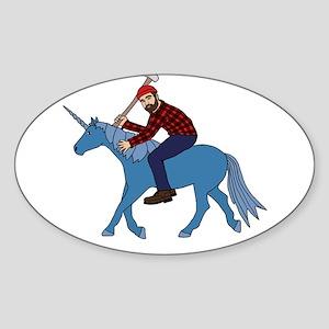 Paul Bunyan Riding Unicorn Sticker