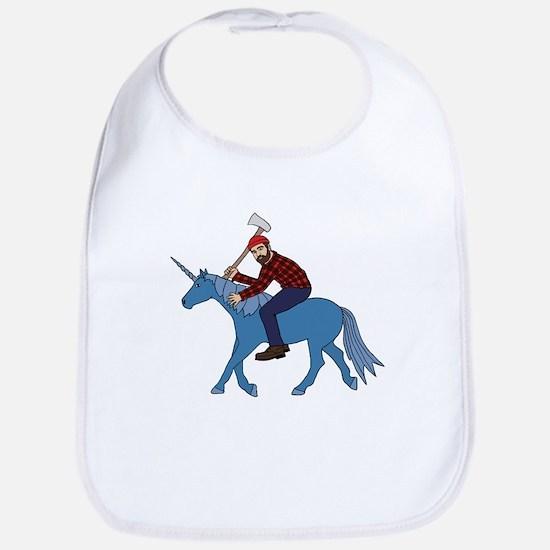 Paul Bunyan Riding Unicorn Bib