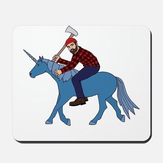 Paul Bunyan Riding Unicorn Mousepad