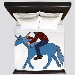 Paul Bunyan Riding Unicorn King Duvet