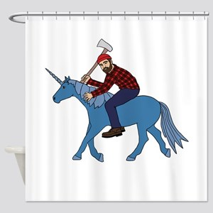 Paul Bunyan Riding Unicorn Shower Curtain