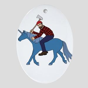 Paul Bunyan Riding Unicorn Oval Ornament